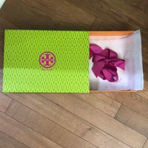 Tory Burch gift box with tissue and ribbon